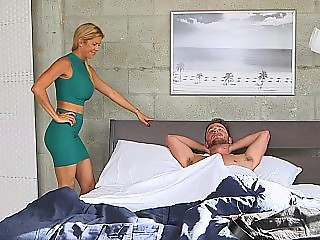 Flawless blonde fucking her muscled BF