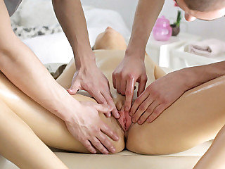 Pigtailed girl Magda receives a cute poke from 2 rubdown therapists