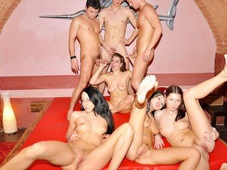 Epic school Double penetration soiree hook-up sequence