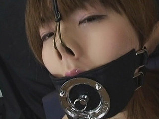 Chinese nymph ball-gagged and blow manmeat