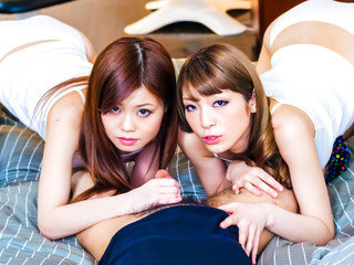 Nao and a gf share a horny guy and his firm manhood taking turns gargling him dry